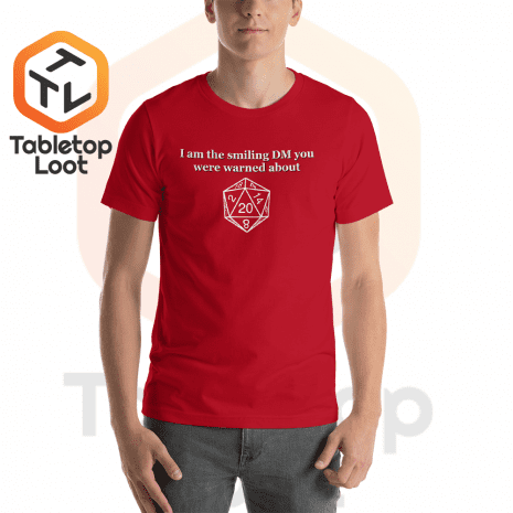 Tabletop Loot-Smiling-DM_BW_mockup_Front_Mens_Red