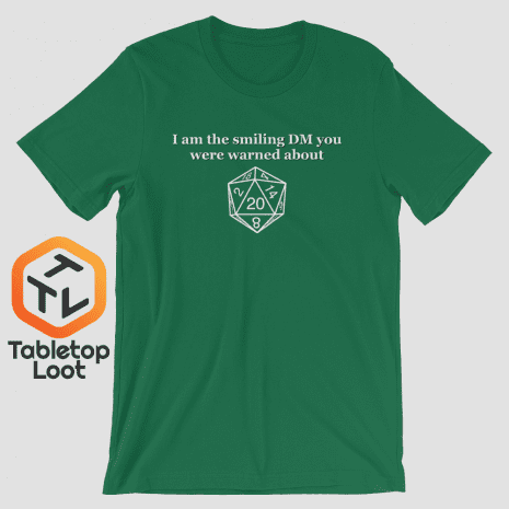 Tabletop Loot-Smiling-DM_BW_mockup_Front_Wrinkled_Kelly