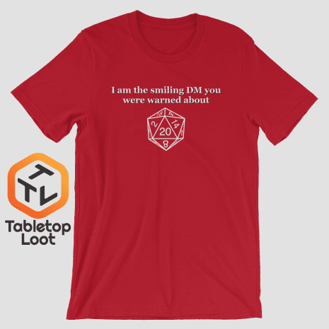 Tabletop Loot-Smiling-DM_BW_mockup_Front_Wrinkled_Red