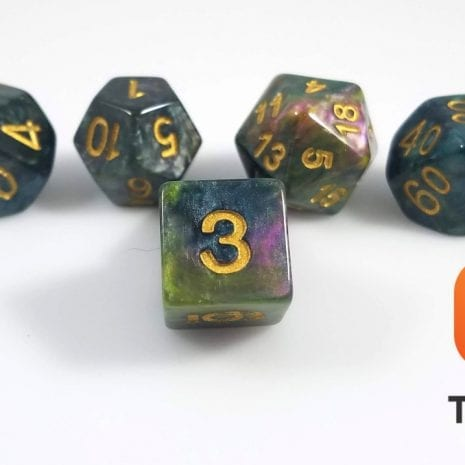Tabletop Loot - Green Marbled Dice 1