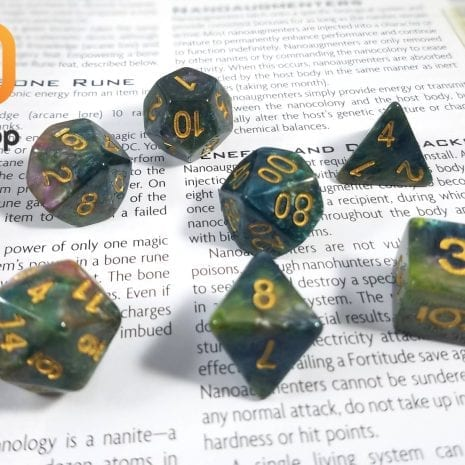 Tabletop Loot - Green Marbled Dice 2