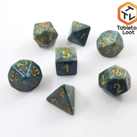 Tabletop Loot - Green Marbled Dice 3