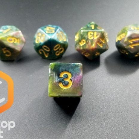 Tabletop Loot - Green Marbled Dice 4