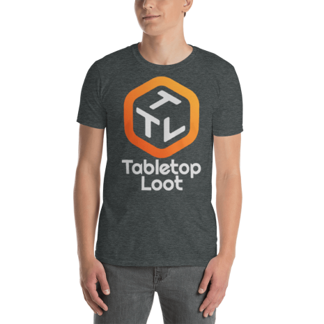 Tabletop-Loot-Logo-for-Dark-Backgrounds_LootTroupe_White_mockup_Front_Mens_Dark-Heather