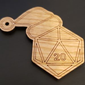Wooden D20 Ornament